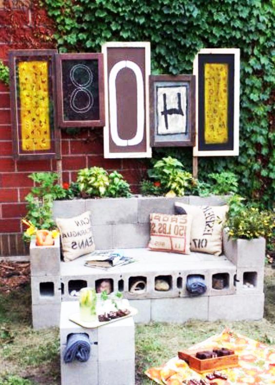 Balkonmöbel selber bauen  selber bauen Balkonmöbel garten holz sofa betonziegel | Garten ...
