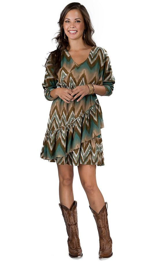 Ariat® Women's Teal and Brown Chevron Tiered Wrap 3/4 Dolman Sleeve Dress