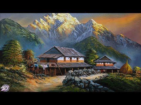 Nepali Village Landscape Painting Beautiful Painting Nature Painting Scenery Painting Scenery Paintings Landscape Paintings Landscape Painting Tutorial