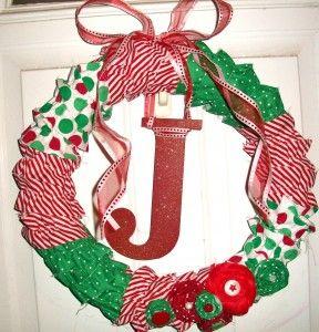 Monogram Ruffle Wreath: Diy Christmas Wreaths, Homemade Christmas Wreaths, Christmas Ornament Wreath, Ruffle Fabric, Fabric Wreath, Christmas Ideas, Ideas For Christmas