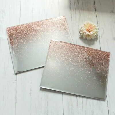 Set Of 2 Rose Gold Ombre Glitter Glass Placemats Rectangle Dinner