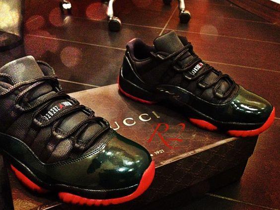 Mens Air Jordan Retro 11 Black White Brown shoes