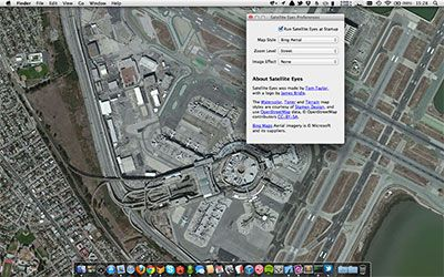 Satellite Eyes / a Mac app by Tom Taylor that automatically changes your desktop wallpaper to the satellite view of where you are, right now / beautiful