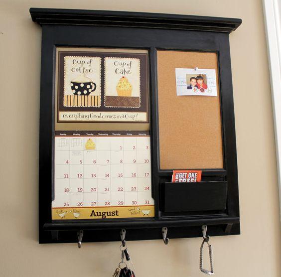 Wall calendar frame front loading home decor framed for Bulletin board ideas for kitchen