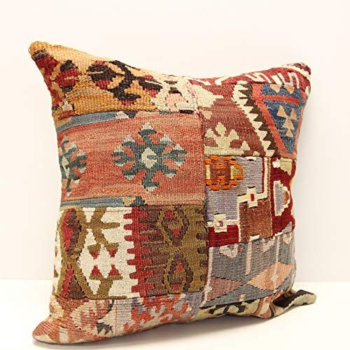patchwork kilim pillow cover 18x18 inch