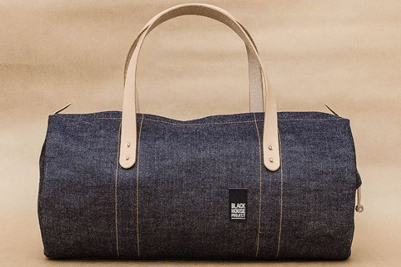 Black House Project raw denim duffle bag
