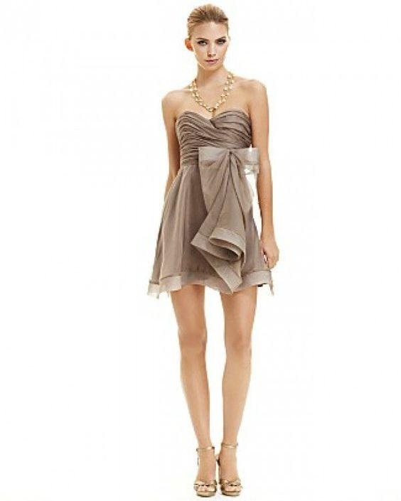 GORGEOUS ABS TAN BEIGE SHORT STRAPLESS CHIFFON BOW COCKTAIL PARTY DRESS 4 $128 #ABSbyAllenSchwartz #Cocktail