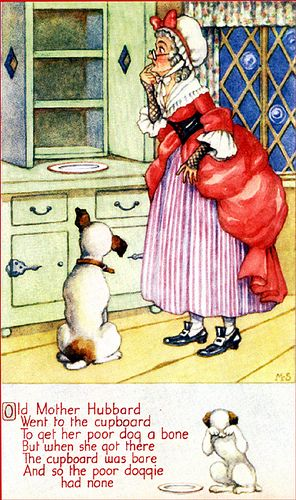 Old Mother Hubbard. Millicent Sowerby.  Cardinal Thomas Wolsey refused to facilitate a divorce from Queen Katherine of Aragon for King Henry VIII. The King wanted a divorce so that he could marry Anne Boleyn. The doggie and the bone in the rhyme refer to the divorce, the cupboard is a reference to the Catholic Church and Wolsey is Old Mother Hubbard. The divorce was later arranged by Thomas Cramner and resulted in the break with Rome and the formation of the English Protestant church.