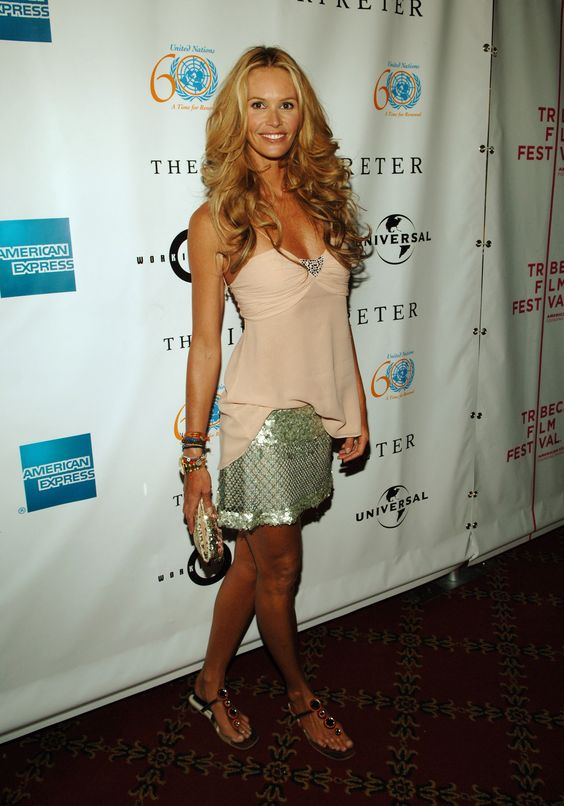 Elle Macpherson sparkled in a silver skirt and pink top for The Interpreter premiere at the fourth annual Tribeca Film Festival in April 2005.