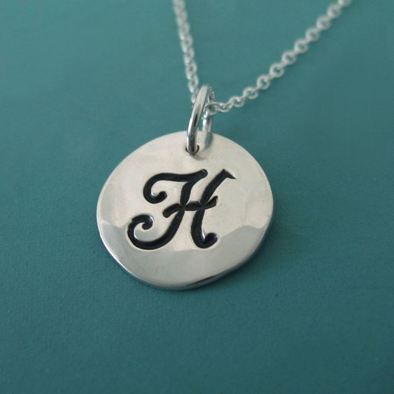Sterling Silver Initial Necklace  1/2 by esdesigns on Etsy, $26.00