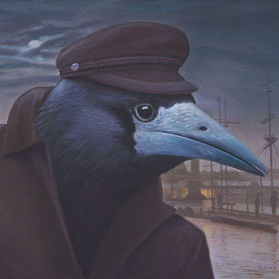 Le Provocateur, painting of a raven wearing a fishermans coat and hat, painting…: