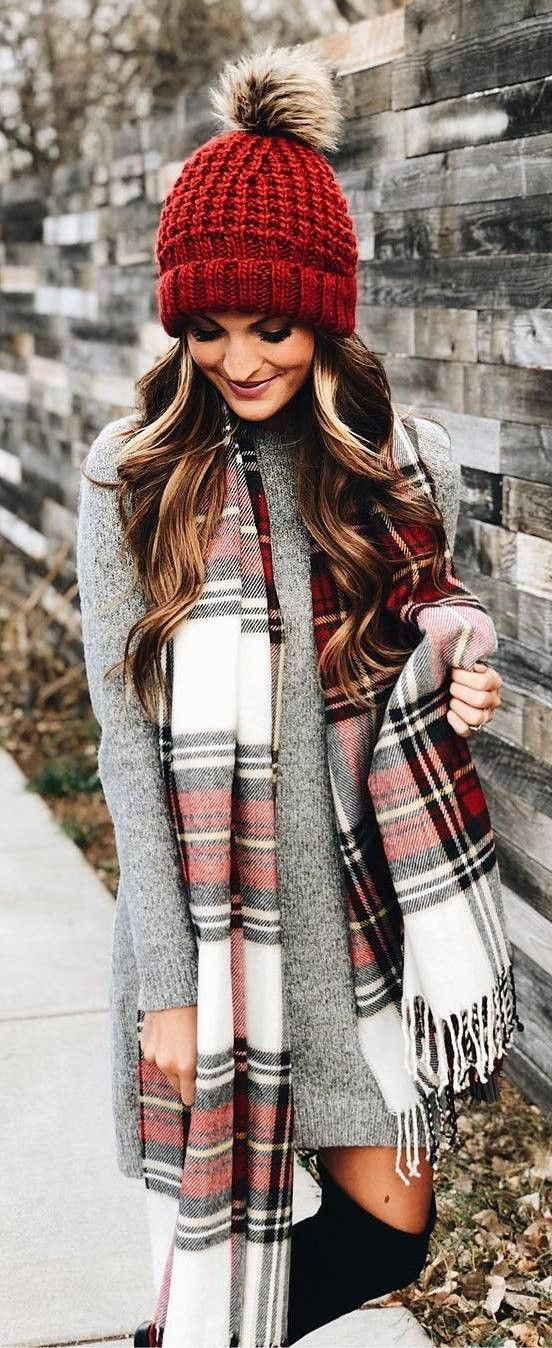 winter outfit inspiration / red knit hat + plaid scarf + sweater dress + over knee boots