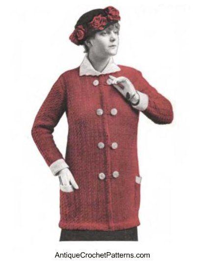 Vintage Sweater: Sweaters Vintage, Crochet Vintage Patterns, Crochet Adults, Crochet Sweaters, Crochet Coats, Vintage Sweaters, Crochet Patterns, Crochet Clothing