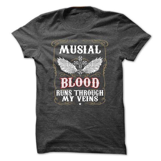 [Best holiday t-shirt names] Blood MUSIAL Blood Run Through My Veins Teeshirt this month Hoodies, Tee Shirts