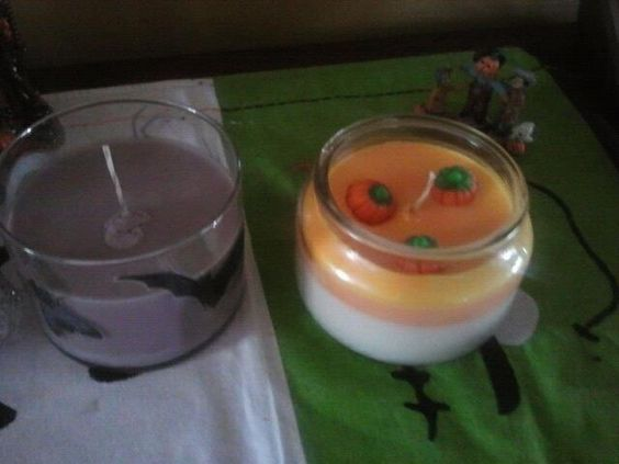 Trick or Treat made from Soy and smell like Skittles or Candy Corn made with real candy and also soft wax burns really nice and slow.
