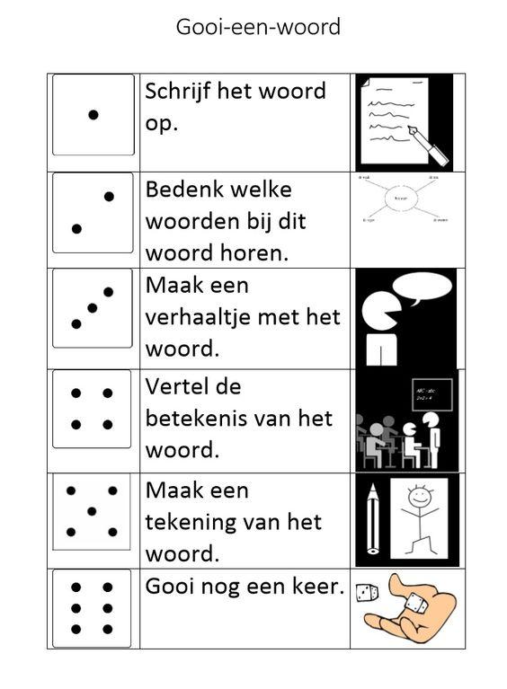 Het gooi een woord spel, speciaal gericht op woordenschat. Met pictogrammen, zodat je dit ook kunt inzetten in een klas met leerlingen die geen Nederlands spreken of nog niet (goed) kunnen lezen (in het Nederlands).