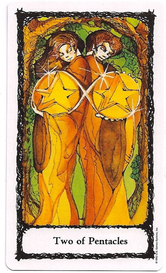 Two 2 of Pentacles from