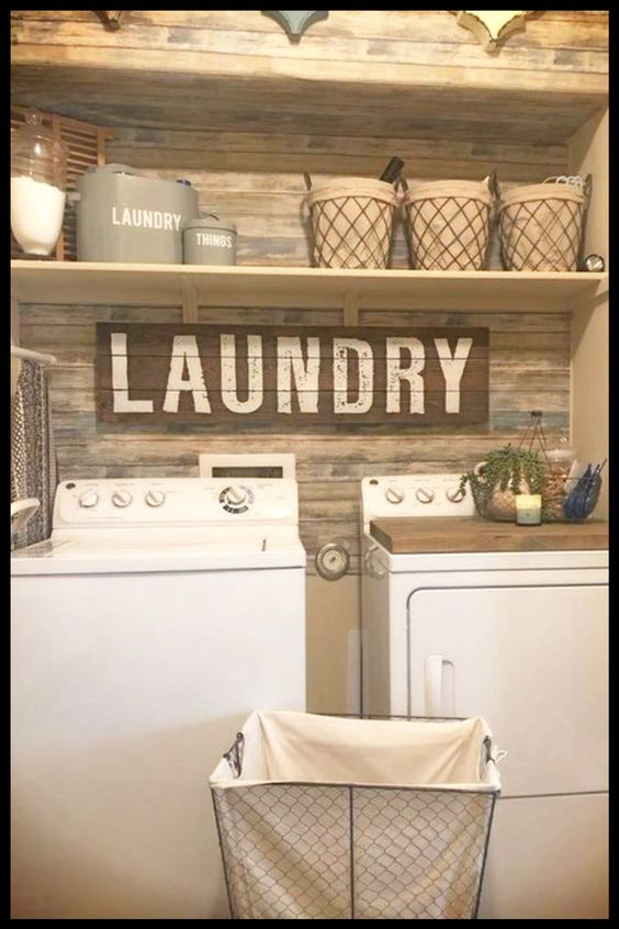 Awesome DIY farmhouse laundry room ideas for decorating a small farmhouse style laundry room on a budget - gorgeous Small Rustic Farmhouse Laundry Room Wall Color and Decor Ideas