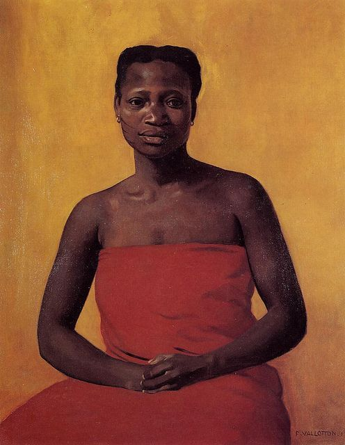 Valloton, Felix (1865-1925) - 1911 Seated Black Woman, Front View (Private Collection):