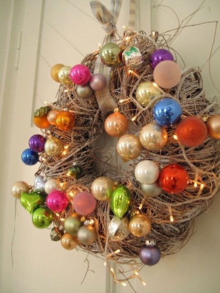 vintage ornament wreath, rustic, country, colorful...