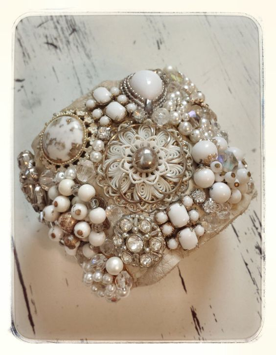 Vanilla Luxe Leather Vintage Jeweled Cuff by AvaClaireDesigns, $82.00