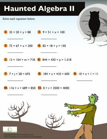 Printables Algebra 2 Printable Worksheets halloween algebra 2 middle school and worksheets