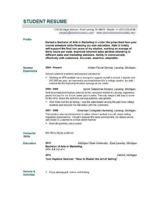 Resume Sample For Fresh Graduate Adorable Student Resume Templates