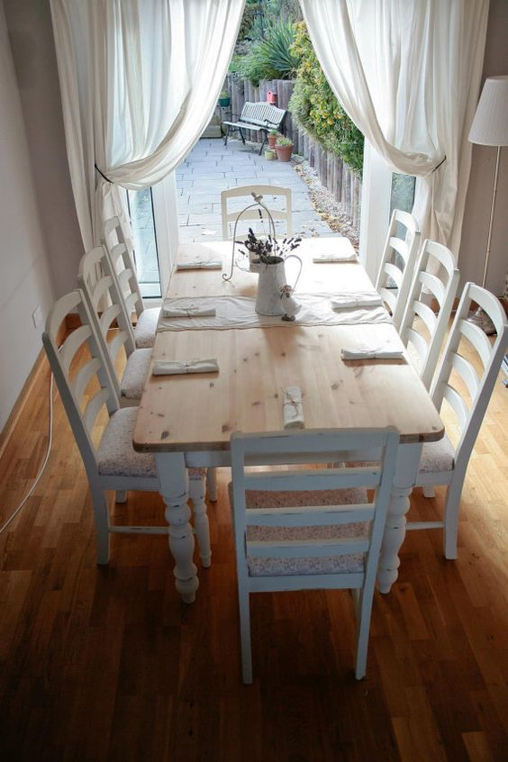 Shabby Chic French Country Farmhouse Dining - love the pretty white curtains and simplicity of the room