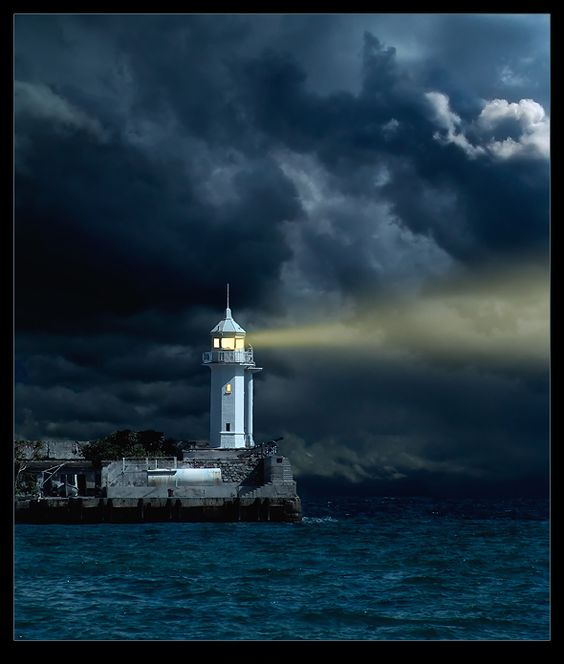 Paintings of Lighthouses at night | Lighthouse Paintings ...
