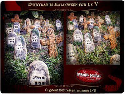 """les Infernales Douceurs Collection 2/5 d'Everyday is Halloween for Us, sur le thème """"ci-gisent nos restes..."""", participation de l'une de nos 11 Artistes (suivez les liens)"""