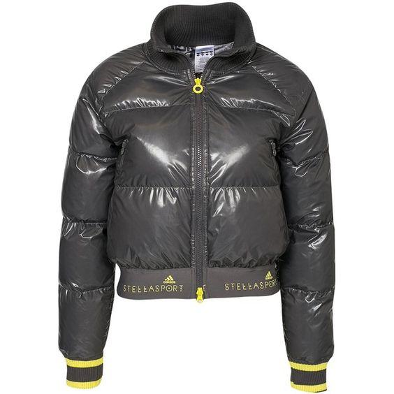 Adidas Stellasport Sc Warm Jacket ($185) ❤ liked on Polyvore featuring outerwear, jackets, granite, sports fashion, womens-fashion, zipper jacket, zip jacket, sport jacket, lined jacket and short jacket