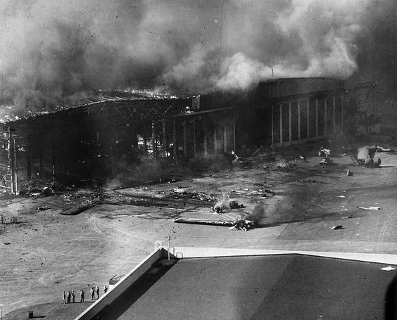PLanes burning-Ford Island-Pearl Harbor. This Day in History: Dec 7, 1941: Pearl Harbor bombed  http://dingeengoete.blogspot.com/