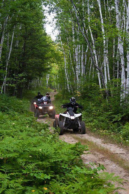 Exploring the Trails at Kugokami near Sudbury Ontario Canada on ATVs