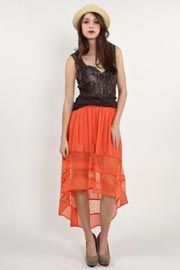 Blue Wren Lace Stripe High Low Skirt @ Libby Story