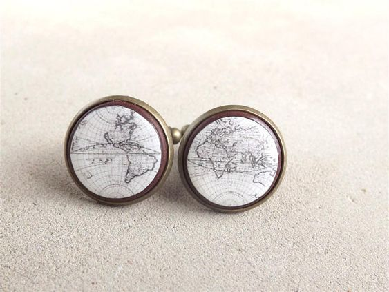 Vintage World Map Cufflinks Men Cufflinks Mens Accessories Map Cuff Links Wedding Cuff Links For Groom Gift For Him on Etsy, $20.00