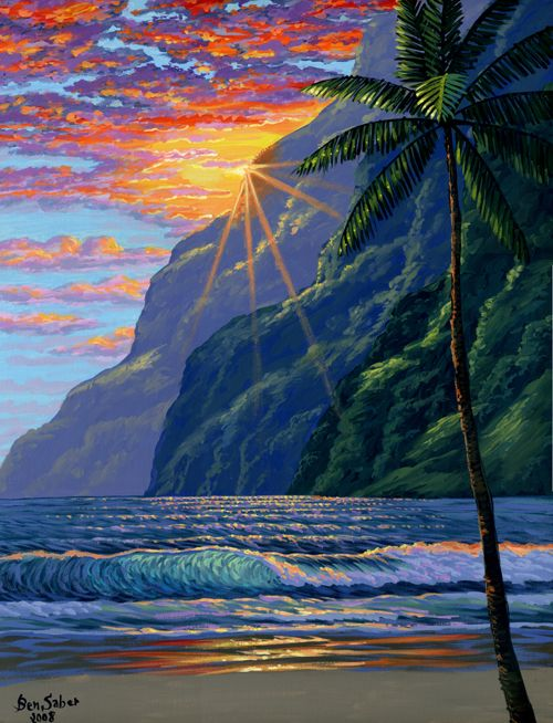 Hawaiian Mountains And Beach Painting Picture Hawaii Painting Hawaii Art Hawaiian Art