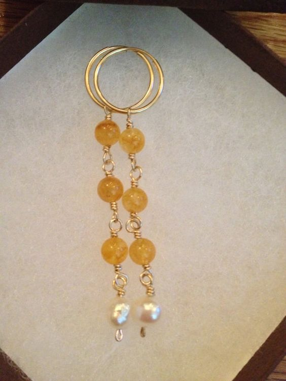 Yellow Jade & Freshwater Pearl Earrings on by FMBdesigns on Etsy, $75.00