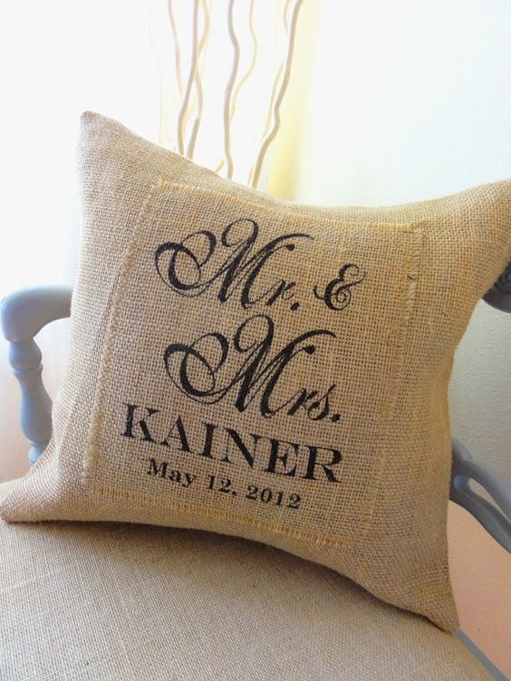 Mr and Mrs Burlap Pillow Cover- Perfect Wedding,  Anniversary or Shower Gift, Bride and Groom, Newlyweds. $48.00, via Etsy.