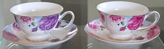 GRACE'S TEAWARE TEACUP & SAUCER SETS 2 PURPLE & FUSIA ROSE DESIGN NEW PORCELAINE #GRACESTEAWARE