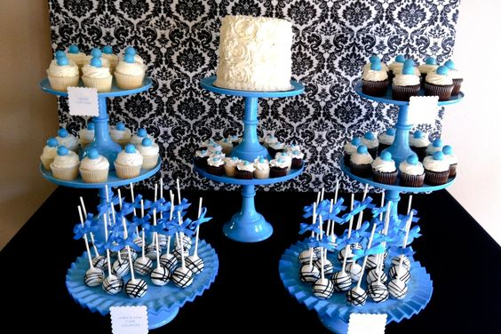 Blue & Damask Dessert Table | Jenny Cookies