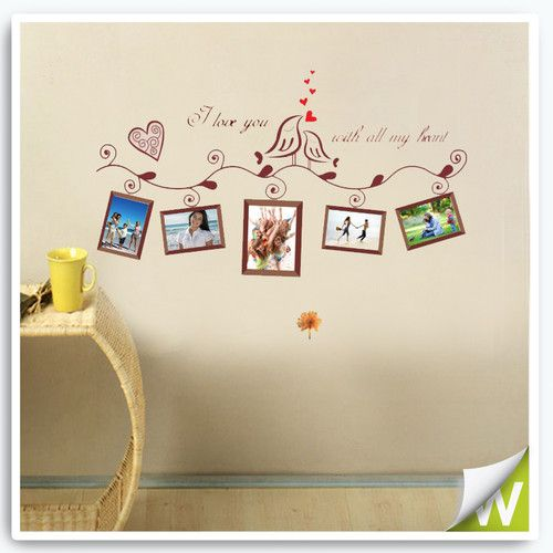 Photo picture frame removable wall stickers bedroom for Campervan wall mural