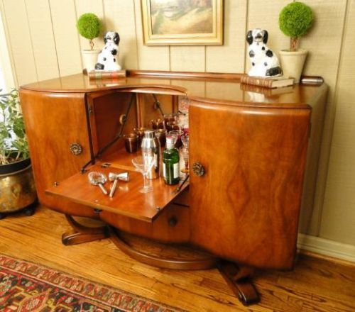 antique pop open art deco bar wine liquor cabinet old. Black Bedroom Furniture Sets. Home Design Ideas