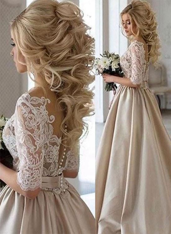 Champagne Satin Lace Long Prom Dress With Sleeve Woman Dresses