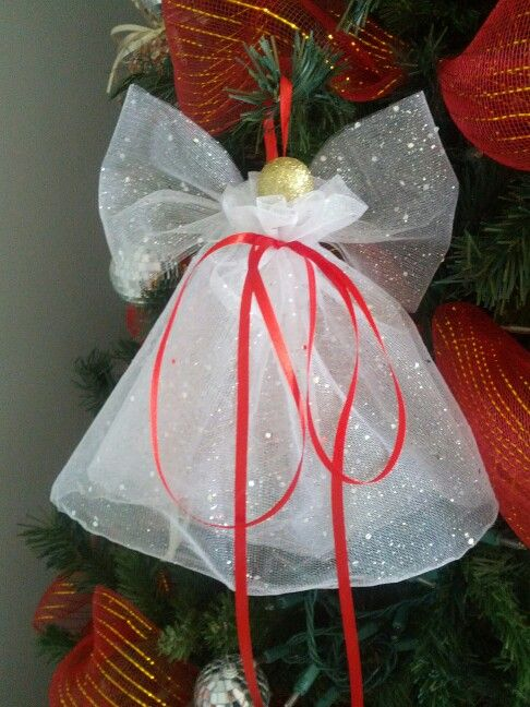 DIY angel ornament: organza, ribbon, small ball, and glue: