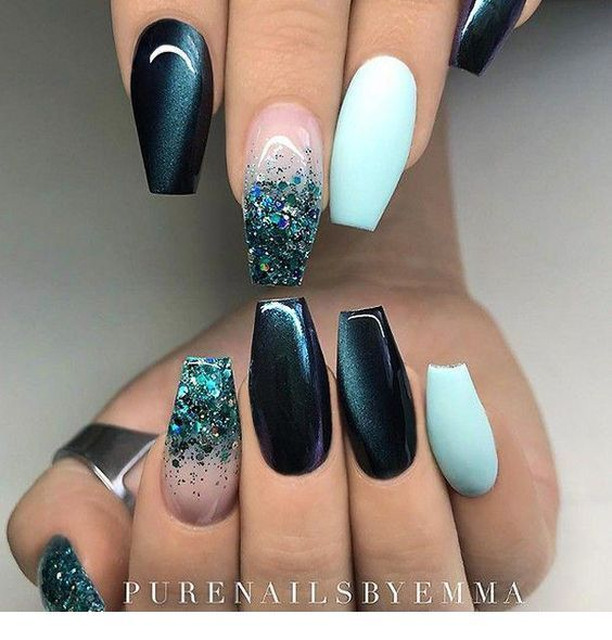 Dark Petrol Matte Aqua And Glitter On Coffin Nails Miladies Net Teal Nails Gorgeous Nails Trendy Nails