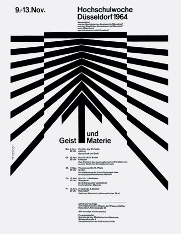 Mind and Matter, Highschool Week 1964, poster for a lecture series, Düsseldorf.  Design: Walter Breker