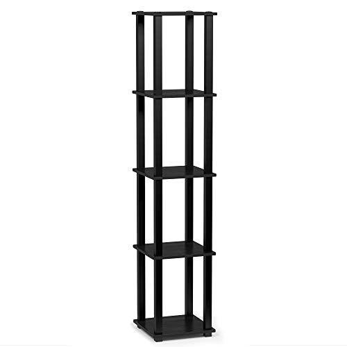 Furinno Turn S Tube 5 Tier Corner Square Rack Display Shelf Americano Black