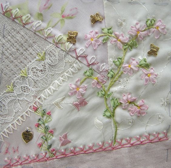 I ❤ crazy quilting & ribbon embroidery . . . DYB block for Annamaria. 15x15 cm ~By Ati, Norway:
