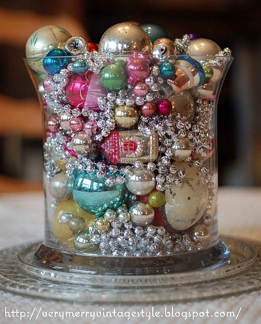 Christmas Ornaments In A Large Glass Vase -love The Satin