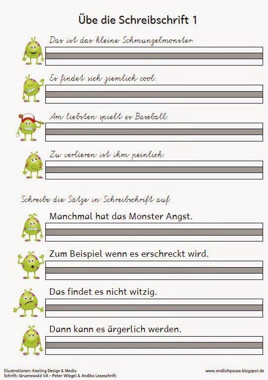 endlich pause schreibschrift 252ben materialien deutsch